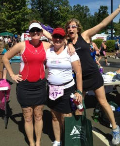 Sara and her AWESOME Sauce photo bomb. Rambling Rose Tri, Raleigh, NC
