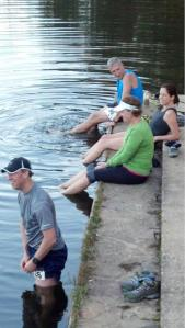 Perhaps the smartest thing I did related to this race....soak my feet and legs in the COLD mountain water!