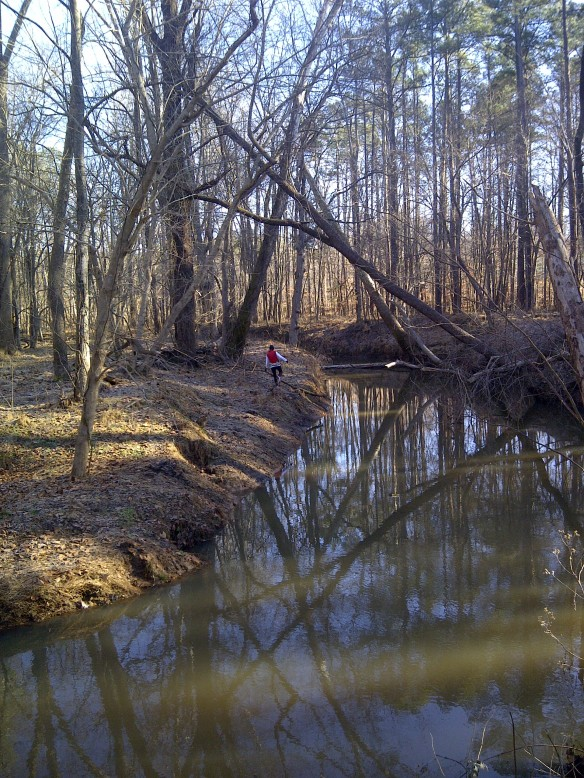 "Katherine investigating the second crossing which ended up being a ""forest mirage"""
