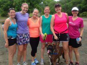 Our first run together, June 2014!  My Facebook post- Shout out to Kate for her longest run! Kayla for best dressed! Great run with running buddies OLD and NEW literally. With Rex (woof),