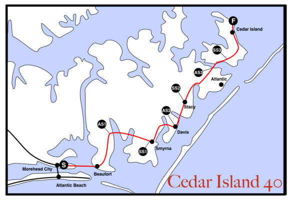 Cedar Island 40 route along coast of NC