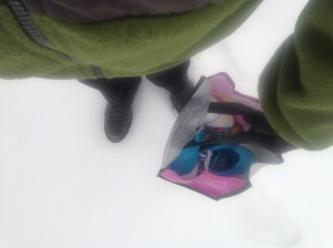 My snow/ice trek to get in my CrossFit home WOD with Kathryn.