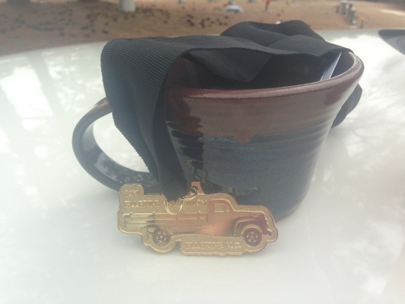 2nd place female in my age group! I proudly accepted my pottery mug make by http://www.semperfipottery.com/index.html