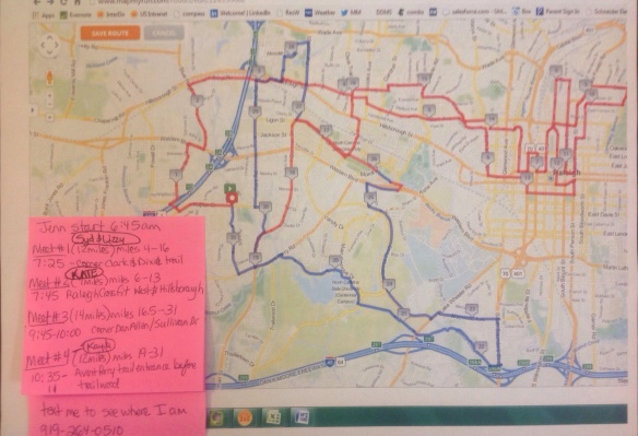 My recruiting map.  I love planning routes..my running buddies think I am crazy