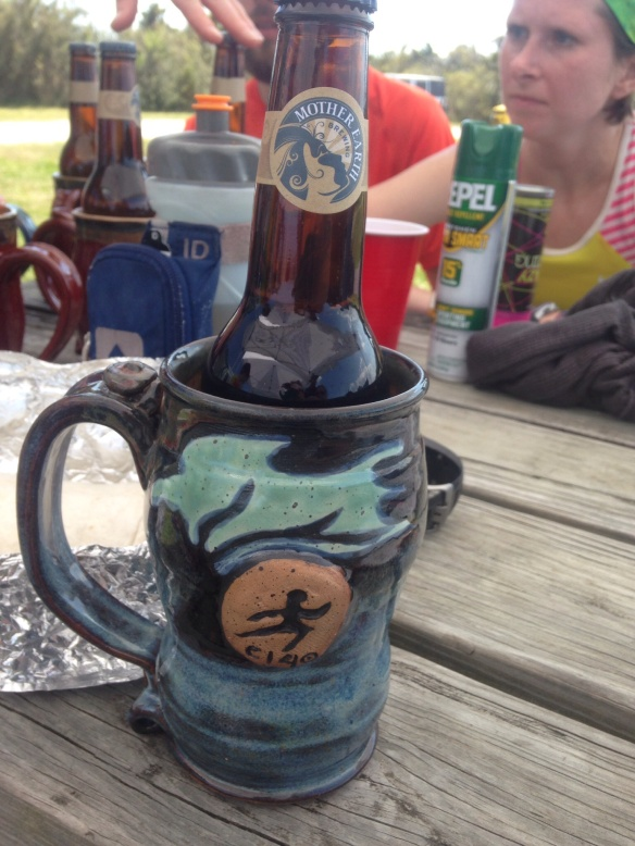My  handmade finisher pottery and Mother Earth Brewery Beer!
