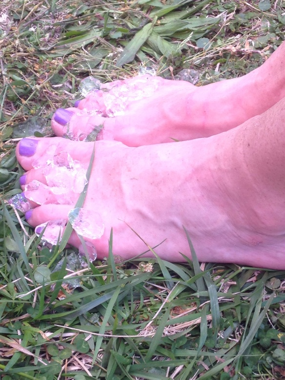 Horrific blisters! Both pinky toes had weigh bearing blisters that popped miles 30-35.  When the popped my balance was thrown off.  It hurt like HELL but I ran through it.  Ashley thought I had a cramp as i had to grab onto her.