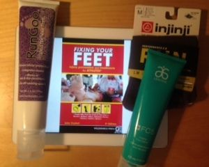 Feet Prep  Supplies - RunGoo, Fixing Your Feet Book, Injinji toe socks, Arbonne foot creme!