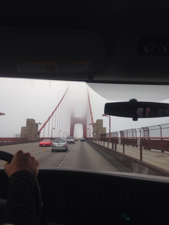 Crossing the Golden Gate  Bridge on the way to our first exchange