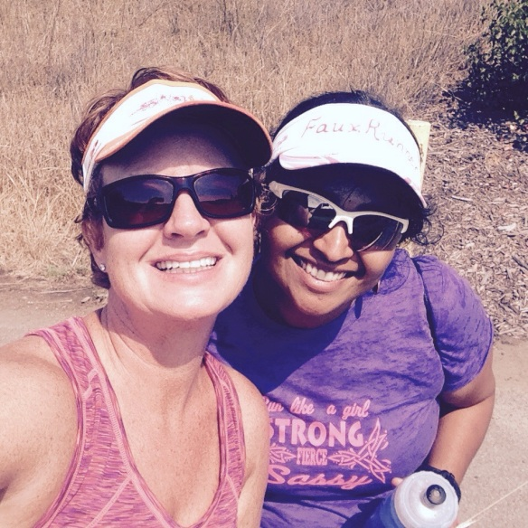 Smitha and I waiting for Laura after her first run!