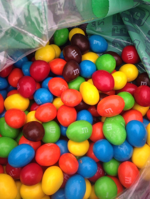 """""""Smitha would you like some?"""" """"No Thanks what is that Fat M&M's?"""".....I proceeded to almost pee myself in laughter.  My sweet little Indian Princess had never seen a Peanut M&M!  Life altering moment!  We had hours of laughter at her expense! Forever referred to as FAT M&M's!"""