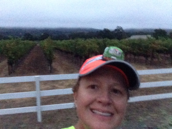 "Great 9 mile run.  Super treat was watching the sun come up and finishing in the vineyards!  Or is it a ""Wine Yard"" as Smitha called it lol!"