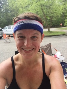 Kmac and her PBR sweat band.  I literally almost fell over in laughter when she  past me on the trail!  I spend a lot of time with this girl and have never seen this jewel!