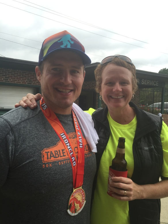 My ultra pal Jermey! (Picture from Kinston Mother Earth Brewing Half Marathon) Minutes after my finished asked me if I could imagine another 6 hours and completing 100 miles! I did not say NO!