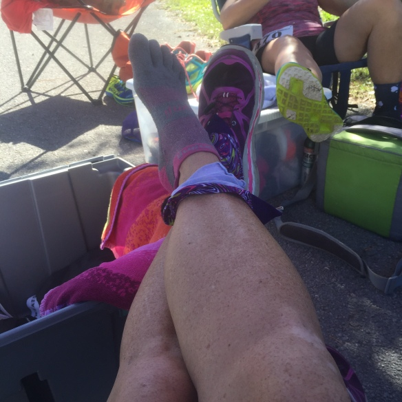 Mile 14, sock and shoe change.